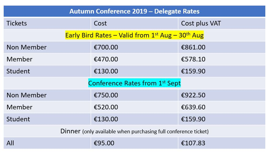 Conference rates Autumn 2019